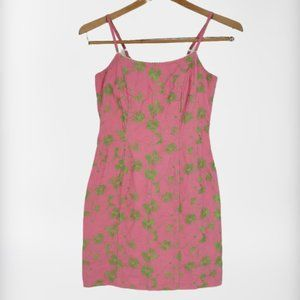 Lilly Pulitzer Pink Dress Green Floral Embroidered